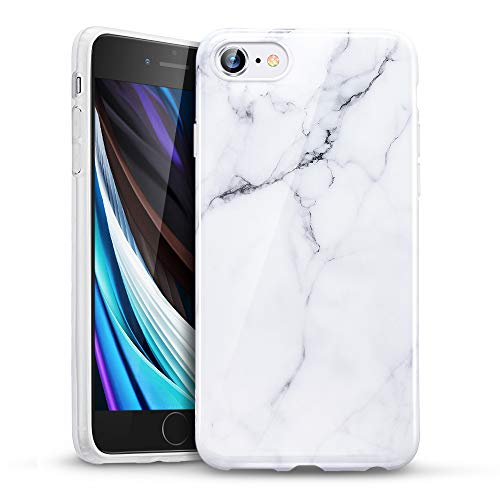 "ESR Funda Serie Marble Compatible con iPhone SE/8/7[TPU Blando y Flexible][Slim][Funda Diseño Mármol para iPhone SE/8/7 4,7""] Blanco Sierra"