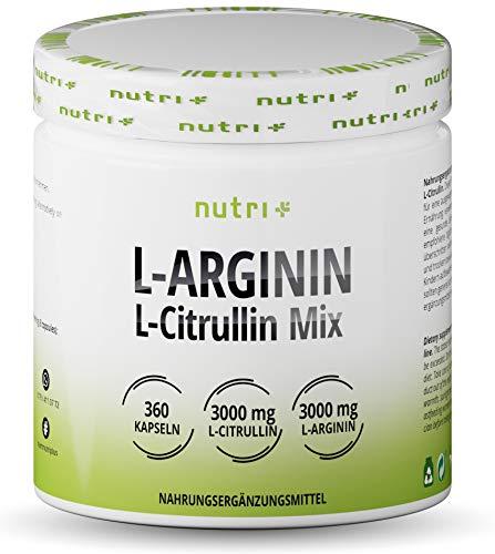 ARGININ CITRULLIN Kapseln - 360 Caps hochdosiert + vegan - 3000mg L-Citrullin + L-Arginin pro Portion - Fitness und Bodybuilding - Premiumqualität ohne Magnesiumstearat + Zusätze