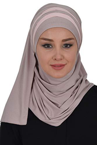 Jersey Shawl for Women Cotton Wrap Modesty Turban Cap Scarf Mink-Powder