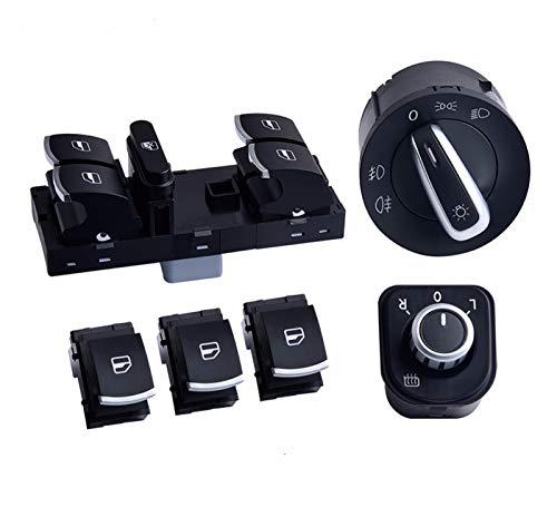 Nuevo MEI Master Window Control Switch Espejo Faro Niebla Lámpara Botón Ajuste Para VW Para VW Para Golf GTI 5 6 Para Tiguan Para Passat B6 CC La instalación es simple y el modelo es adecuado