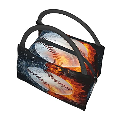 Insulated Cooler Bag Grocery Thermal Tote Portable,Funny Baseball Ball In Fire And Water Best,Keep Cold or Hot Fresh Food Office School Picnic Beach Travel Tote Bag