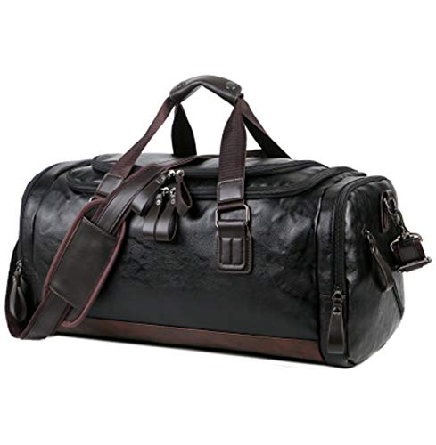 Travel Holdall Duffle Bag for Men Women Weekender Overnight Bag PU Leather Sports Carry On Weekend Totes Bag(Trave Duffe Bag for Black)
