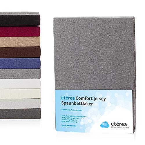 etérea Jersey Spannbettlaken 200x200 bis 200x220cm - Superweiches Spannbetttuch aus 100% Baumwolle, Bettlaken mit ca. 25 cm Matratzenhöhe, Frost Grau