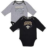 NFL New Orlean Saints Boys 2 Pack Long Sleeve BODYSUIT, Team Color, 6-12M