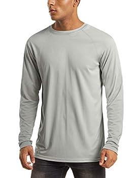 Running Shirts Mens Quick Dry Long Sleeve UV Protection Shirts for Men Long John Shirts UV Clothing for Men Sun Protection T-Shirt Grey