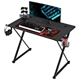 EUREKA ERGONOMIC Gaming Desk 39' Home Office Gaming Computer Desk, X Shaped Gamer Workstation PC Table with Controller Stand Cup Holder Headphone Hook Free Mousepad, Black