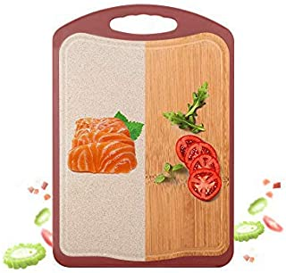 Double-Sided Bamboo Cutting Board for Kitchen,Aritan Organic Large Chopping Board, Two Materials on Both Sides (Bamboo + W...