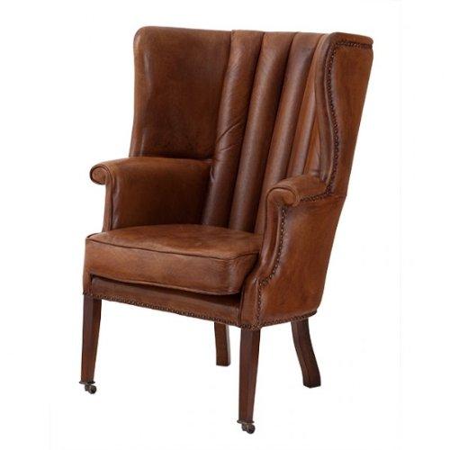 Casa Padrino Echtleder Ohrensessel Elegance Chesterfield Vintage Braun - Sessel mit echtem Leder