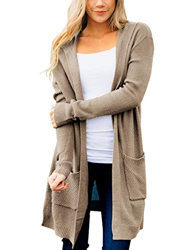 MEROKEETY Women's Long Sleeve Open Front Hoodie Knit Sweater Cardigan with Pockets, Khaki, S