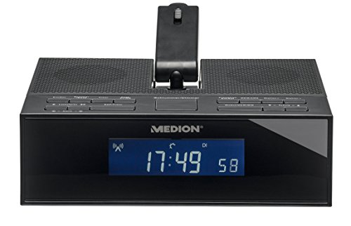 MEDION LIFE E66245 (MD 84347) Funkgesteuertes Projektions-Uhrenradio, UKW/MW Radio, Wecken durch Radio oder Alarmton, Schlummerfunktion, Auto Snooze Funktion, 4 Weckprogramme, 50 Senderspeicher, schwarz