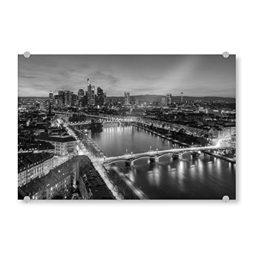 artboxONE Acrylglasbild 150x100 cm Reise Frankfurt schwarz-weiß - Bild Frankfurt Skyline schwarzweiß