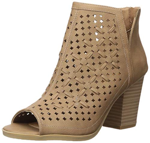Sugar Women's Vael Open Toe Block Heel Fashion Ankle Bootie with Perf and Woven Details Boot, Natural, 11 M US