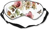 Antifaz de seda de doble cara y antifaz para dormir supersuave y cómoda, para viajes, meditación de siestas, tamaño universal (flores y mariposas florales de estilo shabby chic con rosas)