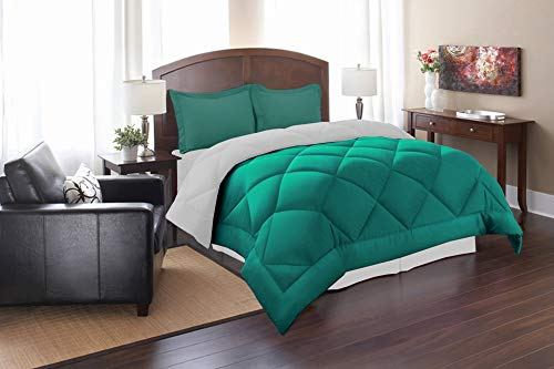 Elegant Comfort All Season Goose Down Alternative Reversible 3-Piece Comforter Set- Available in and Colors, Full/Queen, Red/Gray