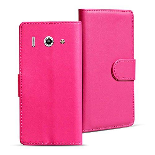 Verco Huawei Y300 Hülle, Handyhülle für Huawei Ascend Y300 Tasche PU Leder Flip Hülle Brieftasche - Pink