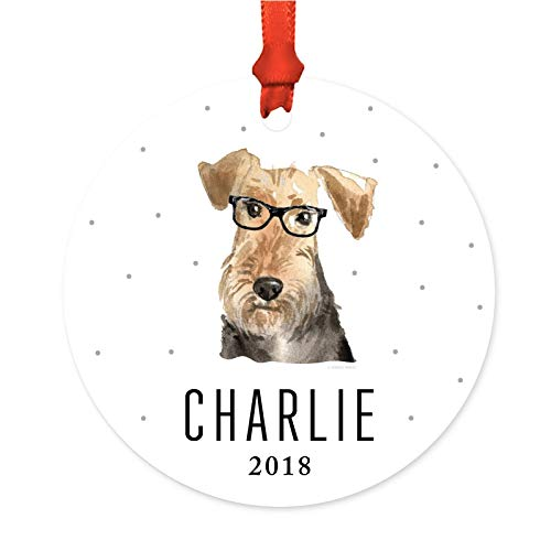 Andaz Press Personalized Preppy Dog Art Round Metal...