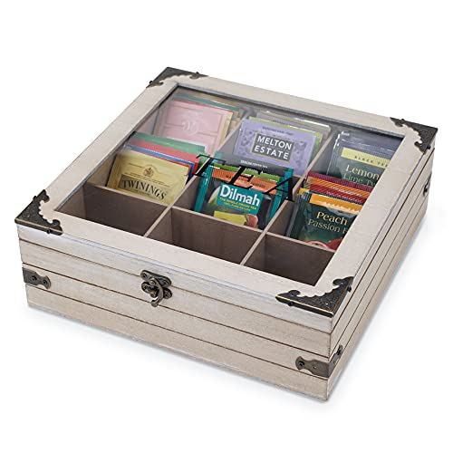 AHUONEL Tea Box, Wooden Tea Storage Box, Wood Tea Organizer Wood Tea Chest, 9-Compartment Tea Bag Box Holder with Clear Lid for Tea Bags, Creamers, Sugar, Coffee Pods, Instant Coffee Packets