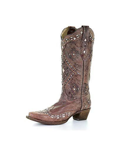 Corral Women's Glitter Inlay Cowgirl Boot Snip Toe Cognac 8 M US