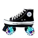 Zapatos de Lona de Patinaje Roller Skates con Luces para Mujer Y Hombre 4 Ruedas Patines CláSicos de Doble Fila para Interior Y Exterior Unisex Adultos,38