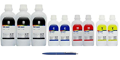 Ink-Mate Recambio de botella de tinta compatible para HP, 3X C2P23AE 1000ml negro, 2X C2P24AE 1000ml cian, 2X C2P25AE 1000ml Magenta, 2X C2P26AE 1000ml Amarillo y Pen Schneider