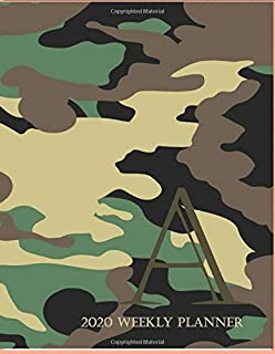 """2020 Weekly Planner A: This camouflage multi-Color Monogrammed """"A"""", 8.5"""" x 11"""" one page monthly, two page weekly with holi..."""
