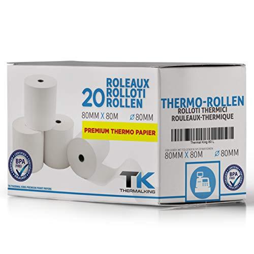 Thermorollen 80mm x 80mm x 12mm – Thermopapier Bonrollen (80 80 12) 48g - zertifiziert für Kassen-Drucker wie Epson, IBM, Metapace uvm. - Premium BPA Frei (20)