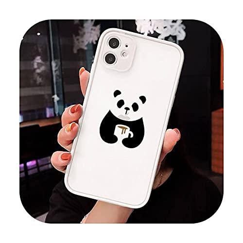 panda dibujos animados lindo animal teléfono casos mate transparente para iphone 7 8 11 12 más mini x xs xr pro max lujo marca cover-a8-iphone xr