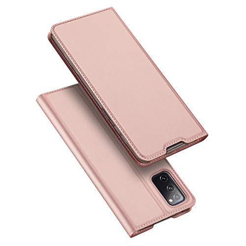 DUX DUCIS Funda Samsung Galaxy S20 FE, PU Cuero Flip Carcasa Fundas Móvil de Tapa Libro para Samsung Galaxy S20 FE (Rosa Dorada)
