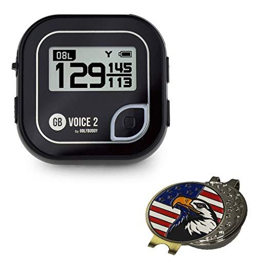 Bundle   Golf Buddy Voice 2 GolfBuddy Voice2 Easy-to-Use Talking GPS, Black + 1 Custom Ball Marker Hat Clip Set (American Eagle)