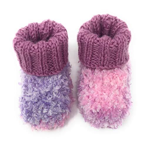 Chaussons Bébé Effet Polaire Tricotés Main - Couleur Violet et Rose Taille 0-6 Mois