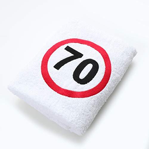 Abc Casa Geschenk zum 70 Geburtstag Handtuch mit aufgesticktem Verkehrszeichen für Mann und Frau - nützliches 70 Jahre Geburtstagsgeschenk - Eine praktische 70 jähriges Jubiläum Geschenkidee