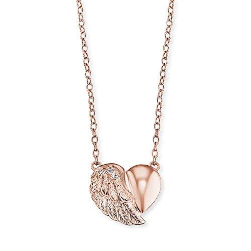 Engelsrufer Herzflügel Kette mit Anhänger für Damen Rosévergoldet 925er-Sterlingsilber Weiße Zirkonia Länge 40 cm + 4 cm