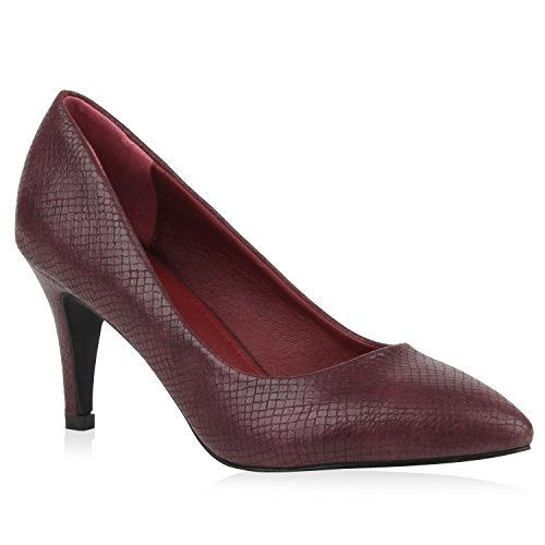 Klassische Damen Pumps Spitze High Heels Basic Stiletto Riemchenpumps Kroko Print Schuhe 105377 Dunkelrot Kroko 36 Flandell