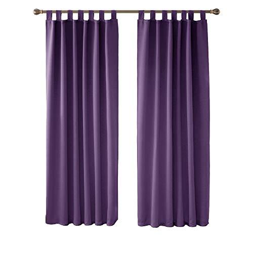 Deconovo Cortinas de Salon Cortinas Termicas Aislantes Frio y Calor para Ventanas Anti Luz con Trabillas 2 Piezas 140 x 210 cm Púrpura Oscuro