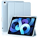 Akkerds Case Compatible with iPad Air 4th Generation Case 2020 10.9 Inch [Pencil Holder/2nd Pencil Charging] [Auto Sleep/Wake], Trifold Stand Smart Case Compatible with iPad Air 4 Case, Sky Blue
