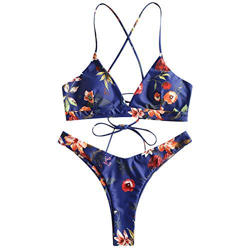 ZAFUL Damen Bikini-Set Geblumtes Bikini Set mit Schn¡§1Rung Push Up Gepolsterte Bademode Bikinis Swimwear Swimsuit Blau Medium