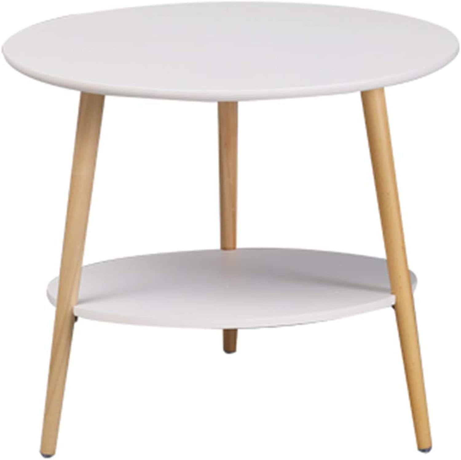 Round Wood Coffee Table Simple White Double Layer Modern Side Table Creative Balcony Window Living Room End Tables