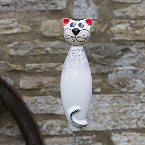 Keramik Katze weiß, 30 cm für Ihren Garten oder großen Blumentopf im Haus