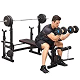【US Spot】 Olympic Workout Bench with Squat Rack, Adjustable Strength Training Olympic Weight Benches, Barbell Dumbbell Bench Weight Lift Bench Rack Set for Full Body Workout (Black)
