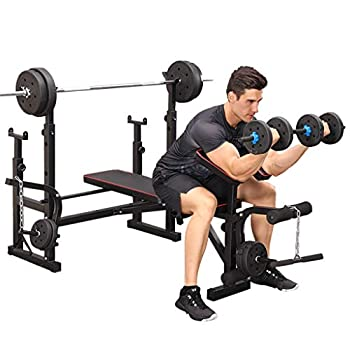 Olympic Weight Benches Adjustable Weight Bench Set with Squat Rack Multifunctional Weight-Lifting Bed Weight-Lifting Machine Fitness Equipment for Full-Body Workout Incline Bench Home Gym