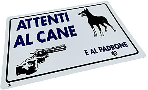 Kombi Cartello Attenti Cane Padrone Segnaletica Targa Pvc Plastica 20 x 30 cm Tabella Segnale Casa