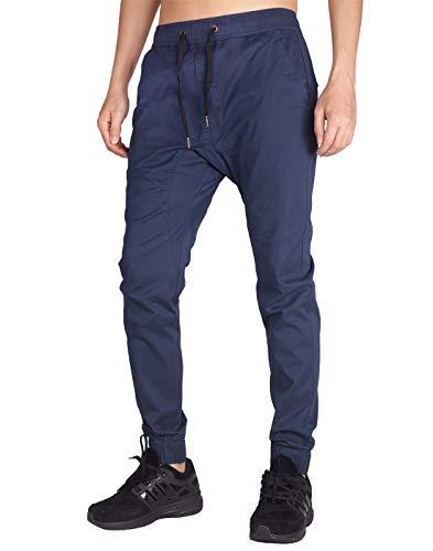 ITALYMORN Jogging Uomo Blu Harem Pantaloni Lino vestibilità Regolare (S, Marina Militare)
