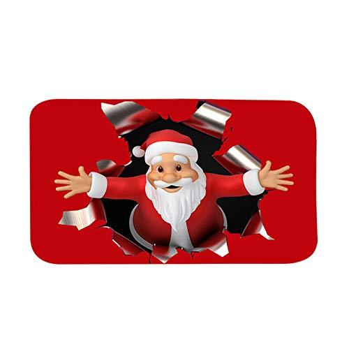 Groust Weihnachtsteppich 3D rutschfeste Boden Weihnachtsdruck Teppich Wohnzimmer Boden Küche Badezimmer Teppich Küche Zimmer Badezimmer Schlafzimmer Matte Bodenteppich Home Küche Bodenmatte