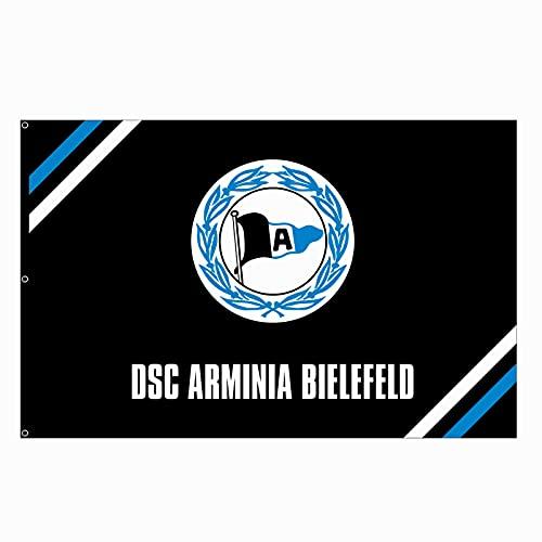 Hissflagge Arminia Bielefeld Logo schwarz - 100 x 150 cm + gratis Aufkleber