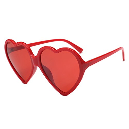 Julhold Gafas de sol unisex con forma de corazón universales, gafas de sol anti-UV, adecuadas para tiro en la calle, fiestas, viajes de vacaciones bloqueando gafas, color Rojo, talla XS