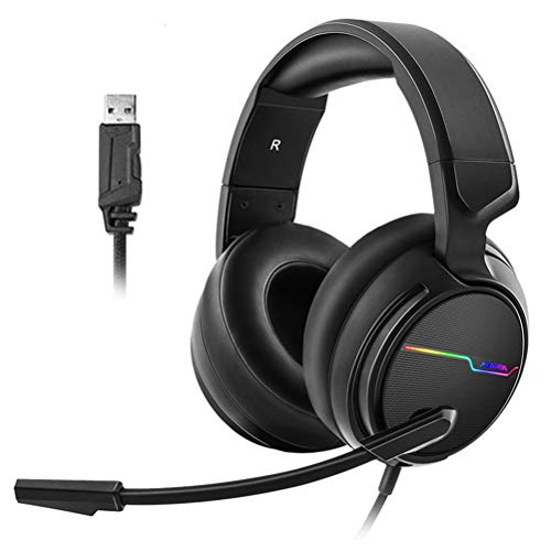 JXFS Wired Gaming Headset USB 7.1 Surround Sound Gaming Headset for PC Gamer Xiberia 3.5mm Bass Casque Game Headset for PS4/Mac/New Xbox One with Mic