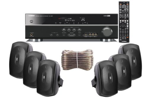 Yamaha 3D-Ready 5.1-Channel 500 Watts Digital Home Theater Audio/Video Receiver with 1080p-compatible HDMI repeater & Upgraded CINEMA DSP + Set of 6 Yamaha All Weather Indoor / Outdoor 130 watt Wall Mountable Natural Sound 2-way Acoustic Suspension Speakers - Black + 100ft 16 AWG Speaker Wire
