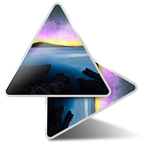2 pegatinas triangulares de 7,5 cm – Aurora Boreal Northern Lights Stars Sea Fun Calcomanías para ordenadores portátiles, tabletas, equipaje, reserva de chatarra, neveras #44167