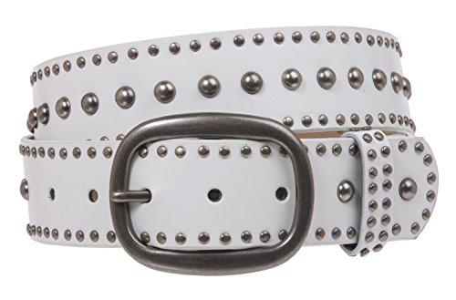 Cinturón de cuero con tachuelas de círculo de metal de hebilla ovalada - blanco - Small/Medium - 81 cm (Ropa)