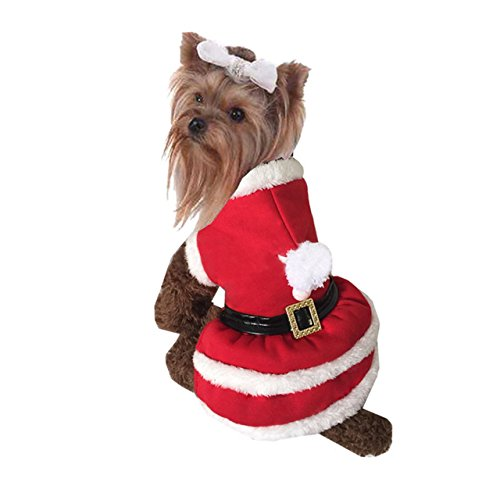 Mogoko Dog Cat Christmas Costume Santa Claus Cosplay Dress, Puppy Pet Fleece Hoodie Warm Clothes for Winter Cold Weather(M Size)